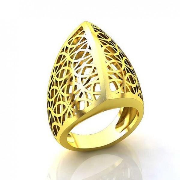 Перстень женский из желтого золота с узором