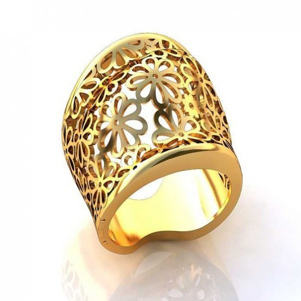 Перстень женский из желтого золота с узором из цветов