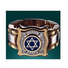 Перстень 'звезда Давида' из комбинированного золота с бриллиантами и э..