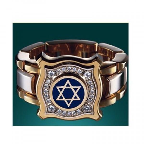 Перстень 'звезда Давида' из комбинированного золота с бриллиантами и эмалью