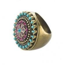 Помолвочное кольцо с бирюзой и рубинами..