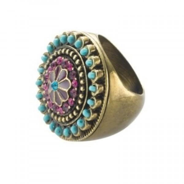 Помолвочное кольцо с бирюзой и рубинами