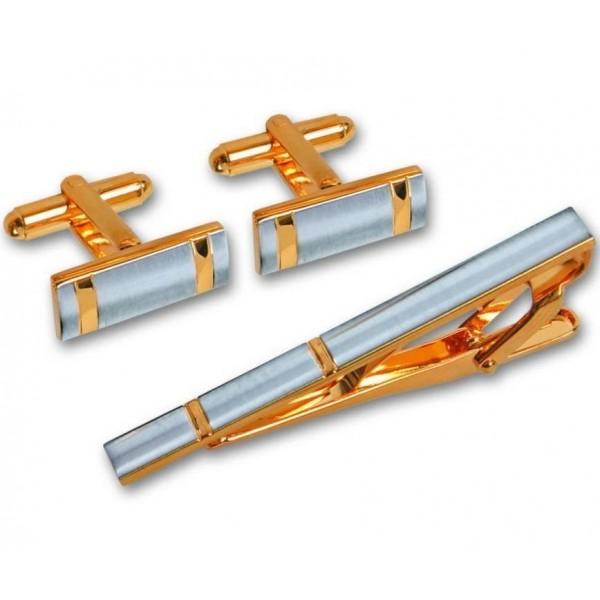 Подарочный гарнитур: Зажим для галстука из комбинированного золота