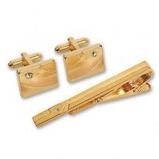 Подарочный гарнитур: Зажим для галстука из желтого золота с бриллианто..