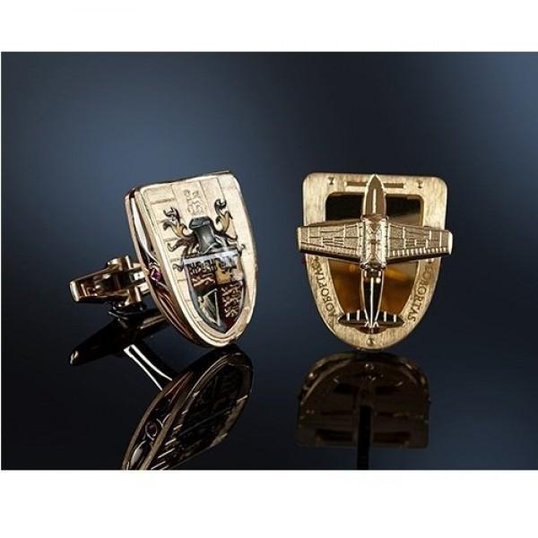 Запонки из комбинированного золота с бриллиантом и рубинами