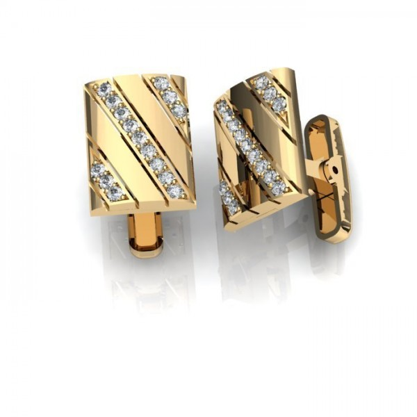 Запонки из желтого золота с бриллиантами