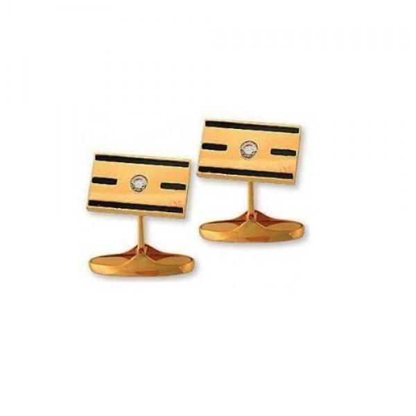 Запонки из желтого золота с бриллиантами и эмалью