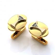 Запонки округлой формы из комбинированного золота с бриллиантами..