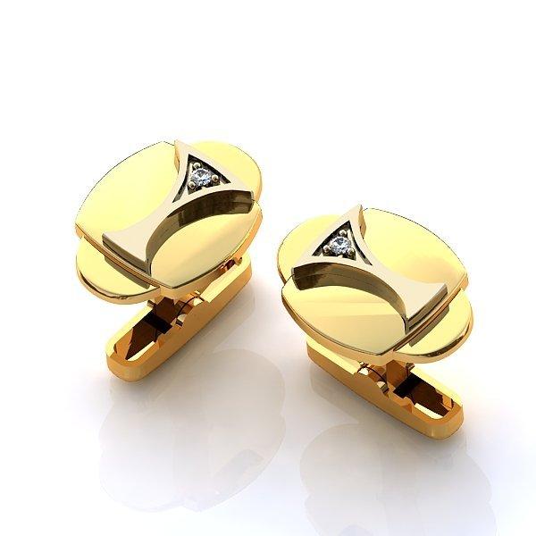 Запонки округлой формы из комбинированного золота с бриллиантами