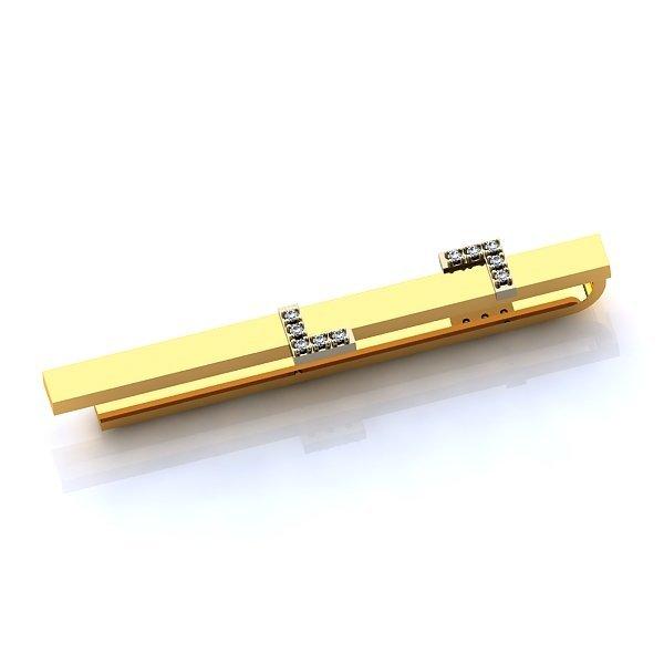 Зажим для галстука из комбинированного золота с бриллиантами