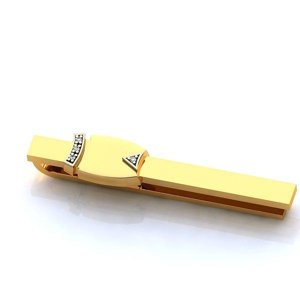 Зажим для галстука из желтого золота с бриллиантами