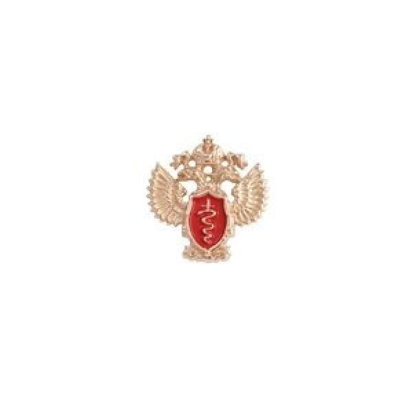 """Значок """"ФСКН  РФ"""" из красного золота с бриллиантом"""