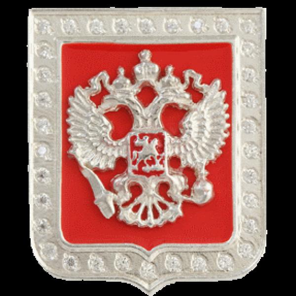 """Значок """"Герб РФ"""" из белого золота"""