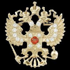 """Значок """"Герб РФ"""" из белого золота с бриллиантами и рубином.."""