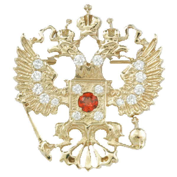 """Значок """"Герб РФ"""" из белого золота с бриллиантами и рубином"""